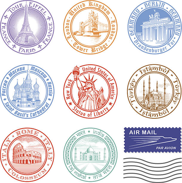 Vektor-Reise-Briefmarken – Vektorgrafik