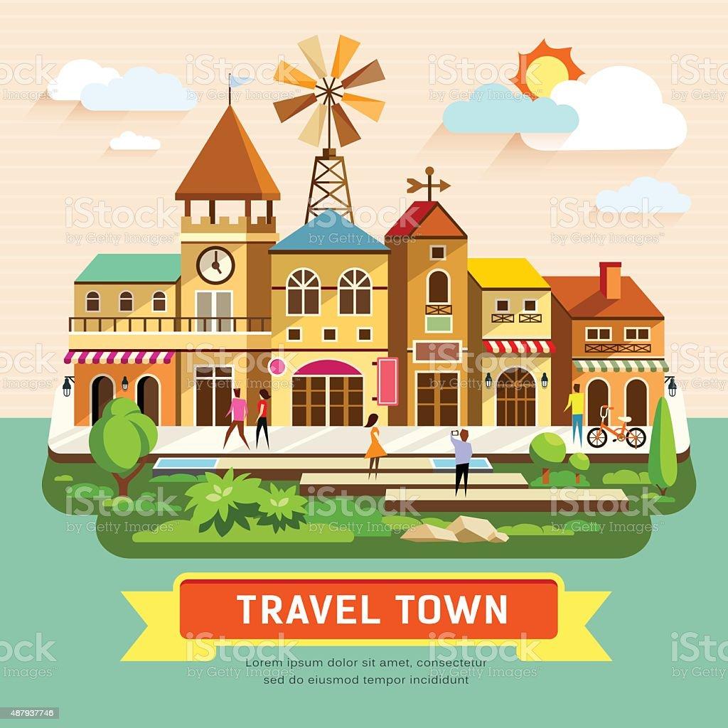 Vector Travel Town Vintage Building Stock Illustration ...