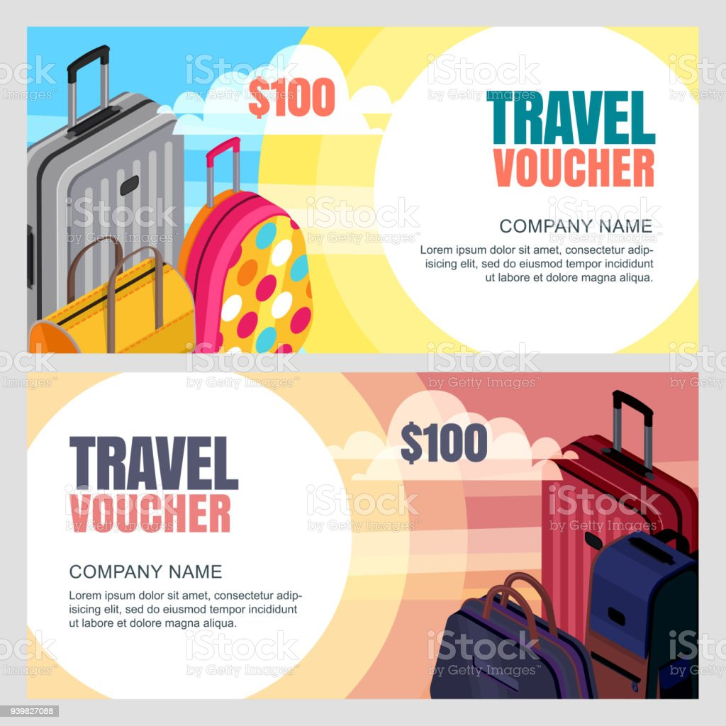 Vector Travel Voucher Template 3d Isometric Illustration Of Luggage