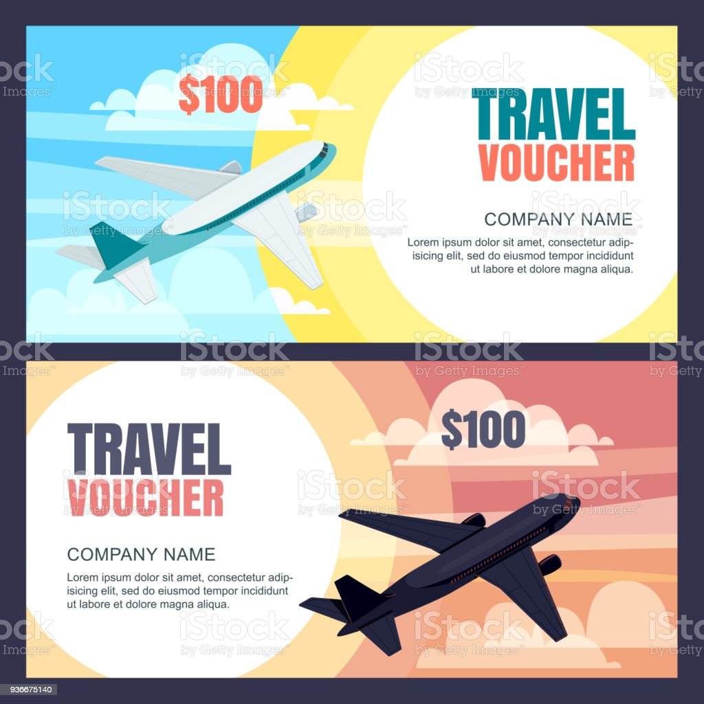 Vector Travel Voucher Template Flying Airplane Day And Night Flight