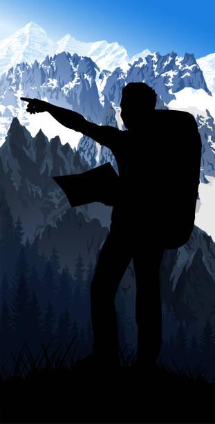 illustrazioni stock, clip art, cartoni animati e icone di tendenza di vector traveler with map in morning mont blanc in alps mountain landscape - monte bianco