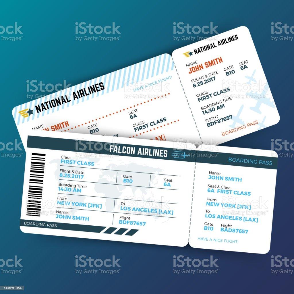 Vektor-Konzept mit Airline boarding Pass Tickets Reisen – Vektorgrafik