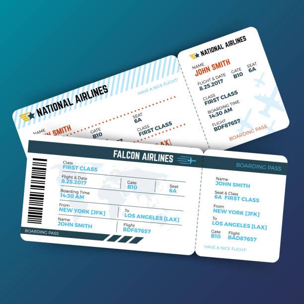 ilustraciones, imágenes clip art, dibujos animados e iconos de stock de concepto de viaje con línea aérea boarding pass entradas del vector - regreso a clases