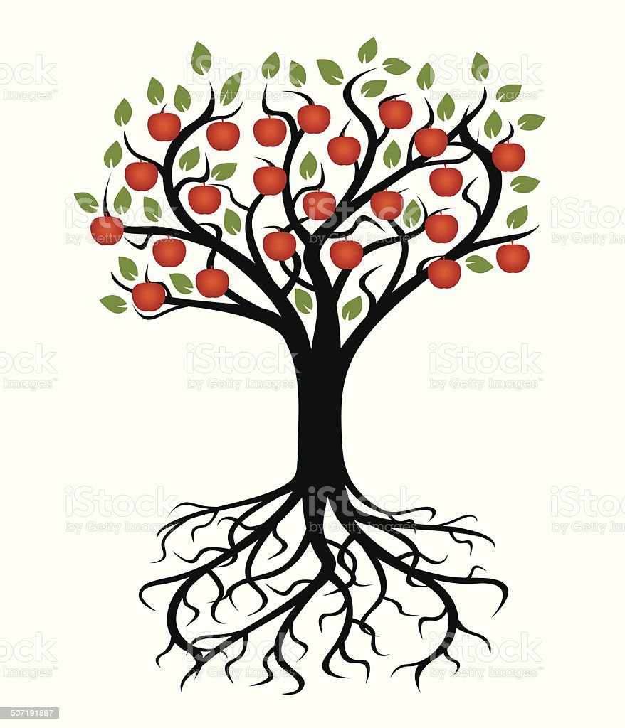 Vector tree and roots vector art illustration