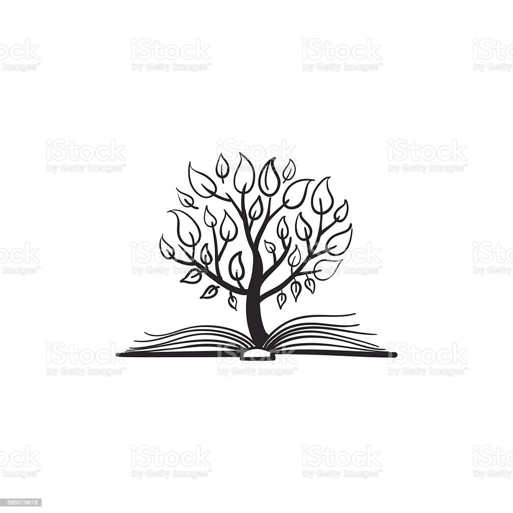 vector tree growing of a book いたずら書きのベクターアート素材や