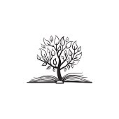 Vector doodle tree growing from the book. Conceptual picture for bookstore or education logo