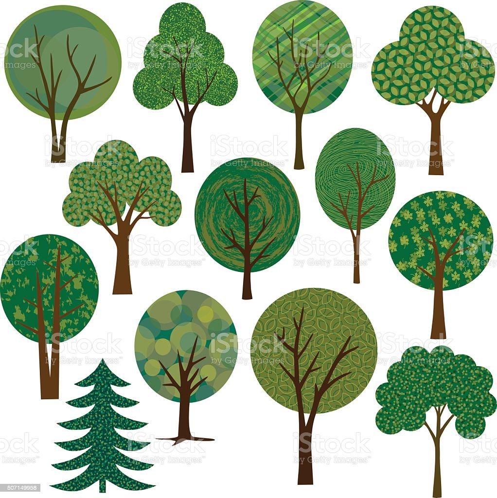 vector tree illustrations  clipart vector art illustration
