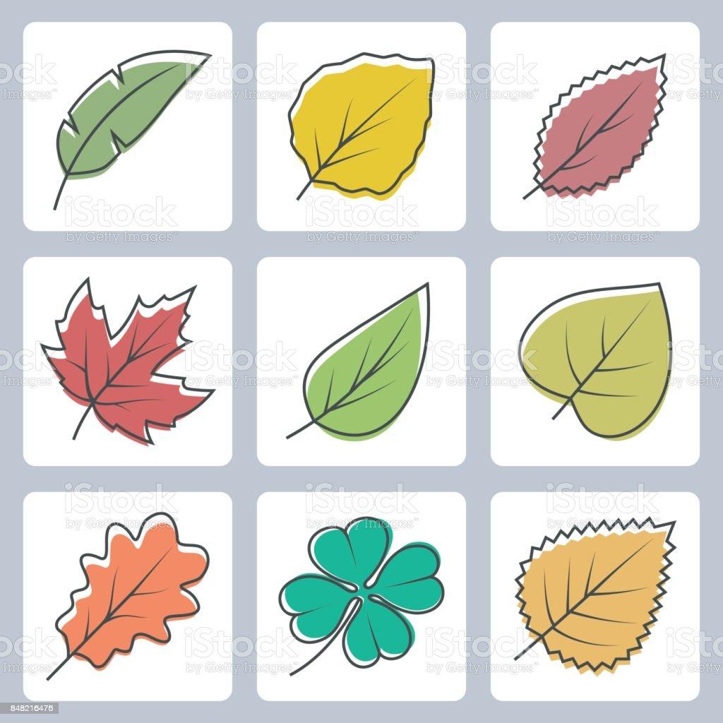 Vector tree leaves icons set vector art illustration