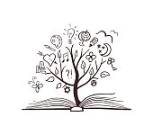 Vector doodle tree growing from the book. Conceptual picture for education