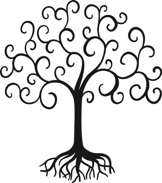 vektor baum des lebens - stammbäume stock-grafiken, -clipart, -cartoons und -symbole