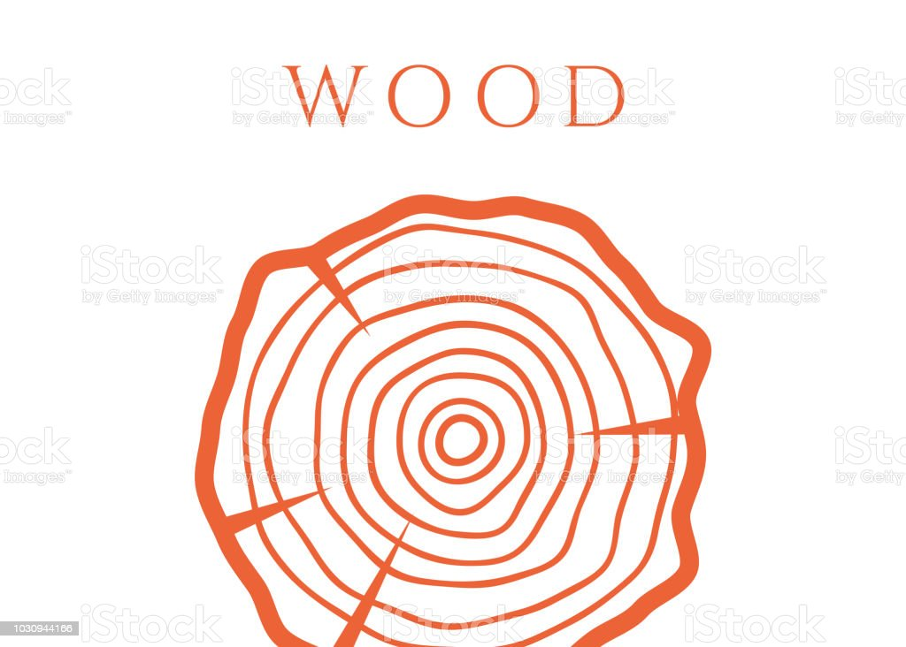 vector tree rings background  wood circle vetor - illustration
