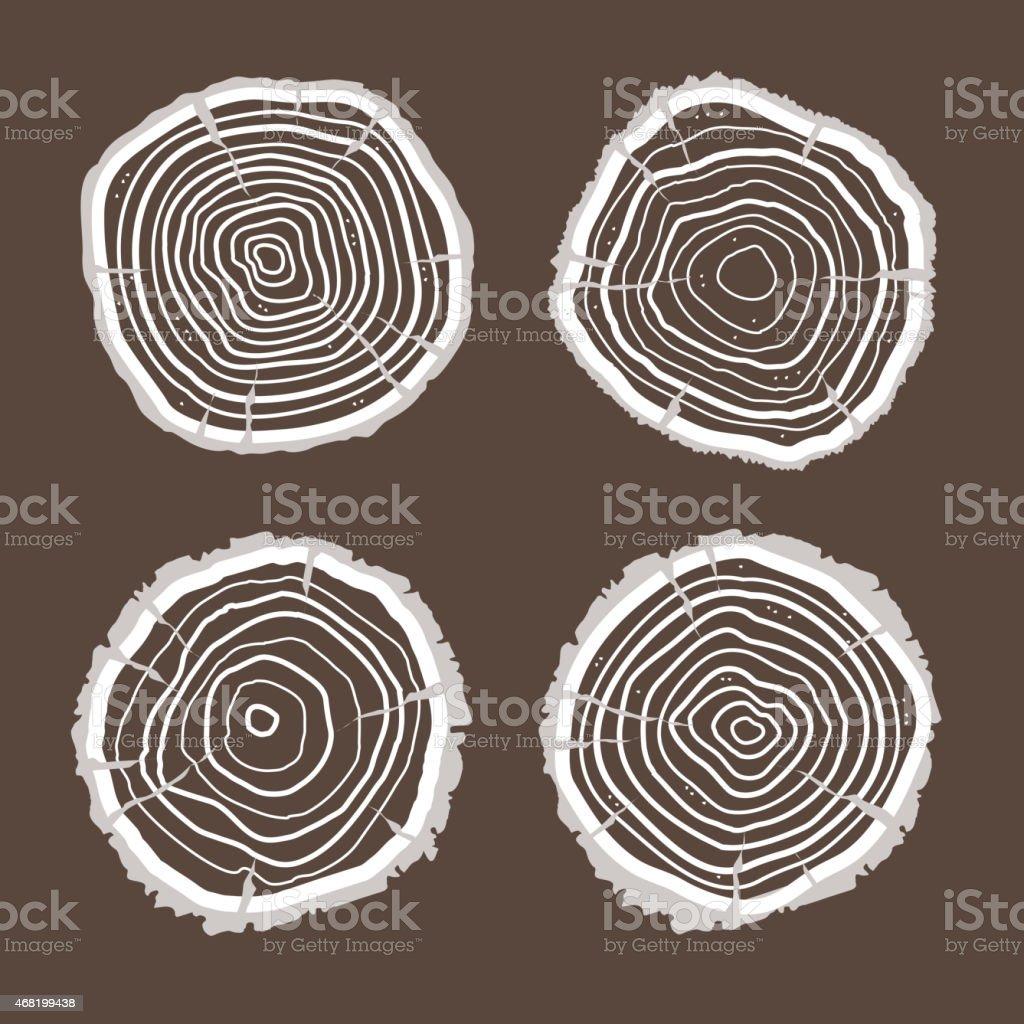 Vector tree rings set. Flat Design vector art illustration