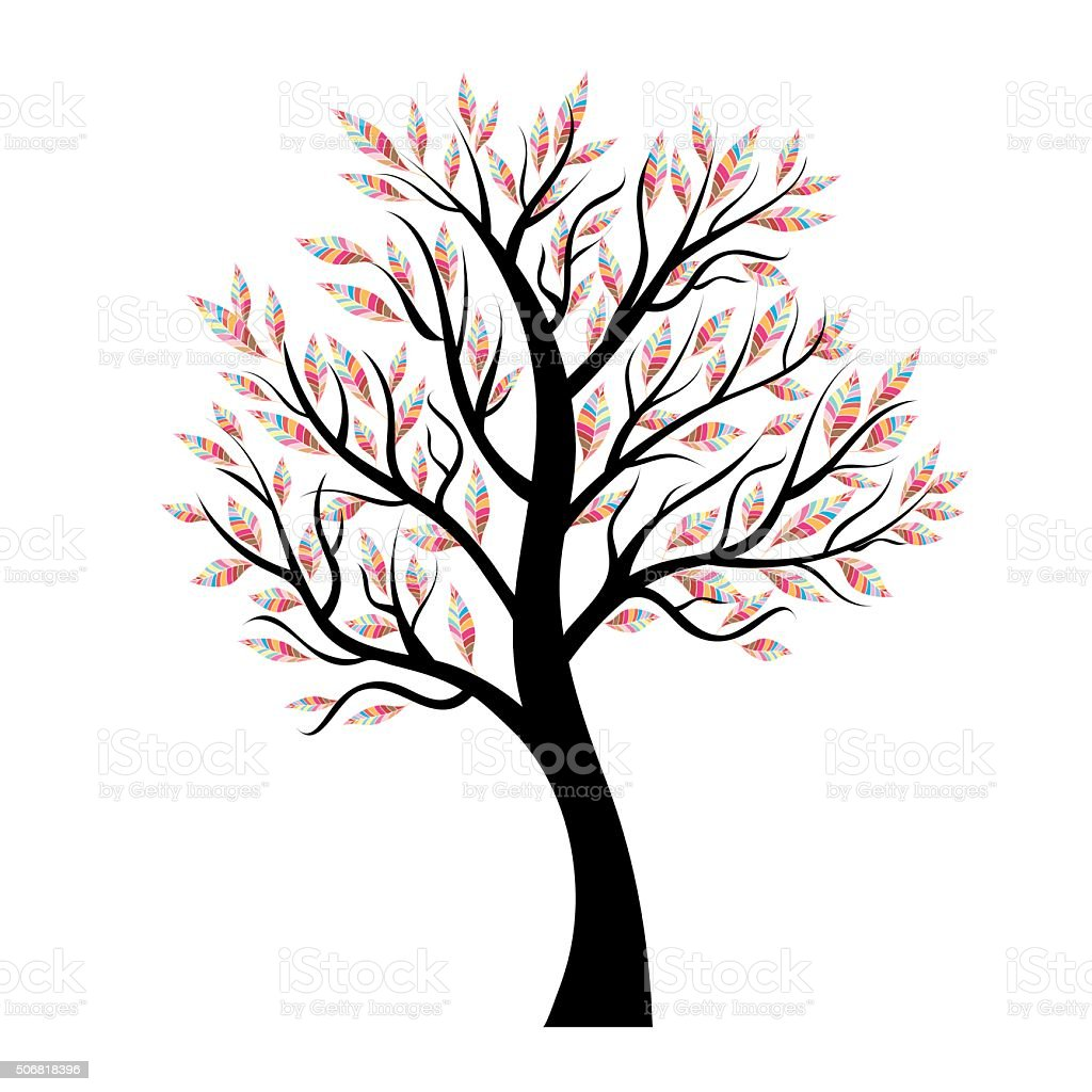 Vector tree with colorful leaves vector art illustration