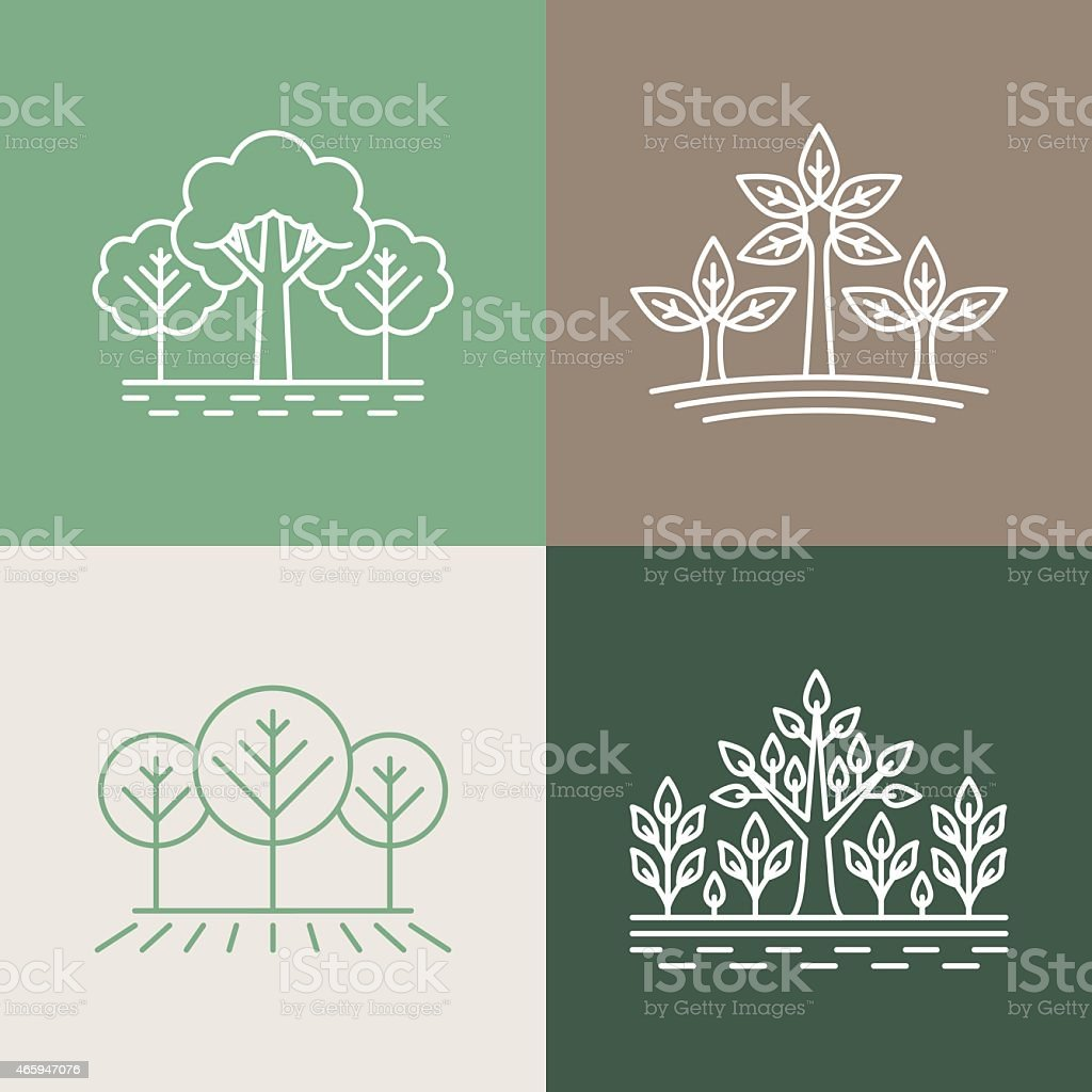Vector trees and park logo designs in earthy colors vector art illustration