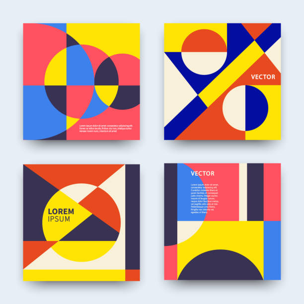Vector trendy abstract geometry covers collection Vector trendy abstract geometry covers collection. Modern colorful retro geometric banners set. Minimal creative templates design. Poster background composition. swiss culture stock illustrations