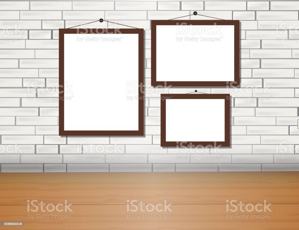 Vector trendy blank poster on the brick wall realistic mockup - ilustração de arte vetorial
