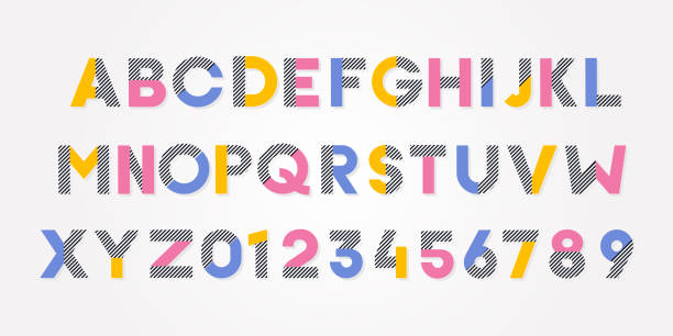 vector trendy cheerful alphabet font and numbers - alphabet designs stock illustrations