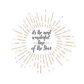 """Vector trendy Christmas hand made quote """"It's the most wonderful time of the Year"""" on white. Lettering. Banner, poster, flyer, brochure."""