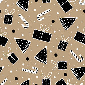 Vector trendy christmas pattern with doodle drawing seamless stick, hat, and gift. Gold and black retro vintage style.