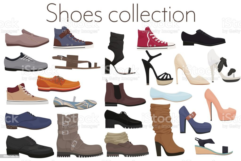 Vector trendy collection of men's and women's shoes fashion footwear. vector art illustration