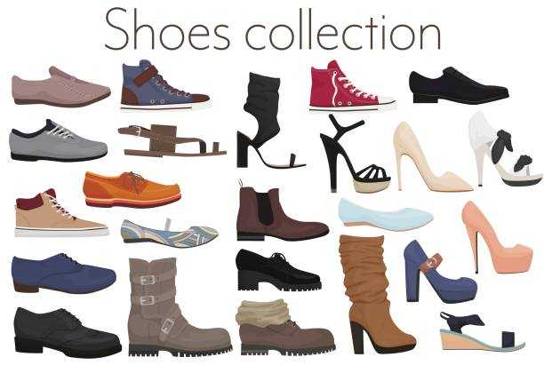 vector trendy collection of men's and women's shoes fashion footwear. - boot stock illustrations