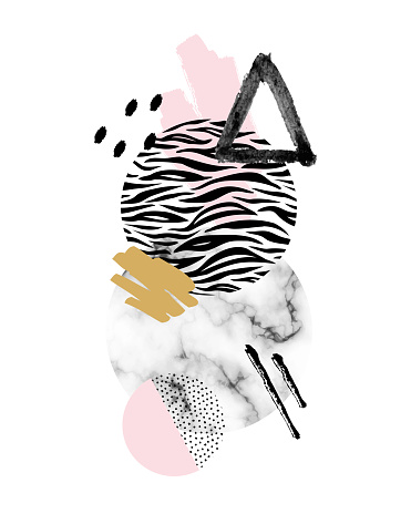 Vector trendy geometric background with marble stones, doodle textures, animal zebra print. Geometrical shapes in minimal modern style with dots and watercolor elements
