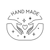 Vector trendy hand made label or badge of gesture in linear modern style isolated. Emblem or logo with hands holding heart and stars - hand made, made with love, donate