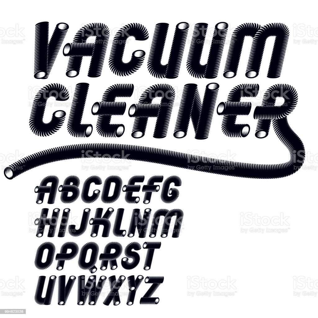 Vector Trendy Italic Capital Uppercase Alphabet Letters Collection