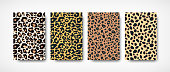 Vector Trendy leopard skin pattern backgrounds set. Hand drawn wild animal cheetah spots abstract textured template for fashion print design, cover, flyer, app, wallpaper
