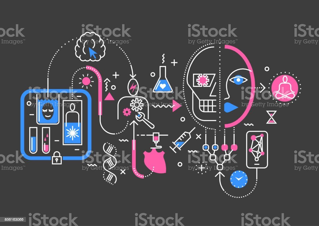 Vector trendy line abstract process illustration of medical technologies in future, robotization, creogenesis, transplantation, eternal life. - illustrazione arte vettoriale