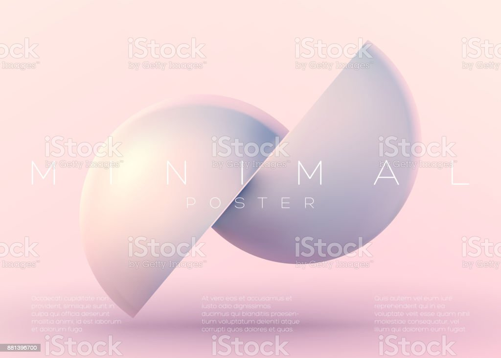Vector Trendy Minimal Poster. Pastel Vibrant Background with Futuristic 3D Shape. Creative Minimalist Template for Interior Poster, Flyer, Music Cover, Wallpaper, Banner, Placard. Neon Colors. vector art illustration