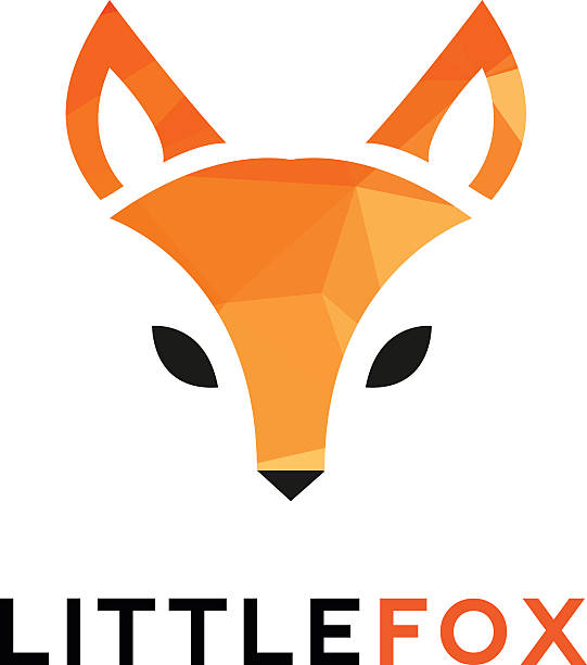 Vector trendy minimalistic red fox head icon in polygonal style vector art illustration