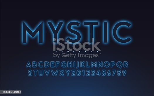 Vector trendy neon light or eclipse style glowing font design, alphabet, typeface, letters and numbers.