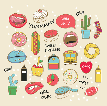 Vector trendy patch badges in pastel colors. Lips, donuts, cacti