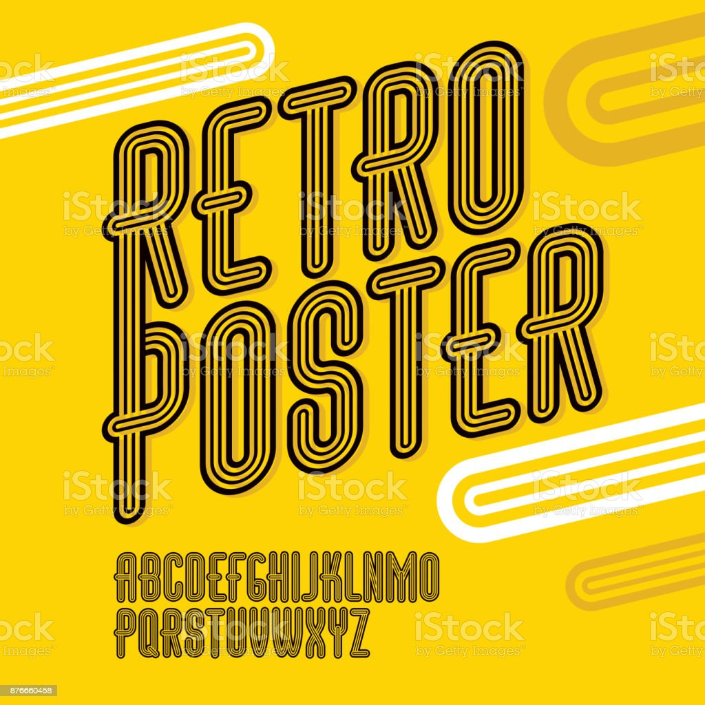 Vector trendy retro uppercase alphabet letters collection. Disco thin, narrow vector art illustration