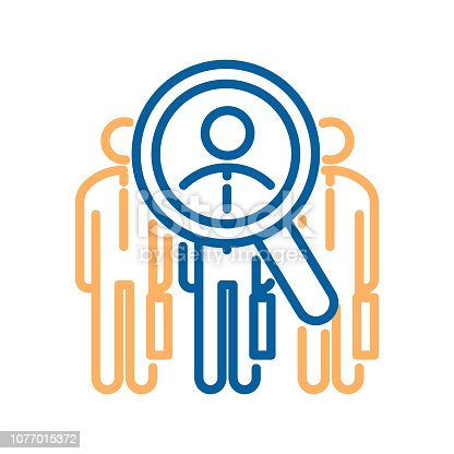 istock Vector trendy thin line icon with 3 business men and a glass magnifier analyzing one of them. For concepts of job recruitment,success, professional opportunities searching, talent and human resources 1077015372