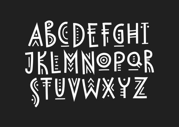 stockillustraties, clipart, cartoons en iconen met vector trendy hoofdletter alfabet in etnische stijl gemaakt van lijnen van verschillende diktes. - inheemse cultuur