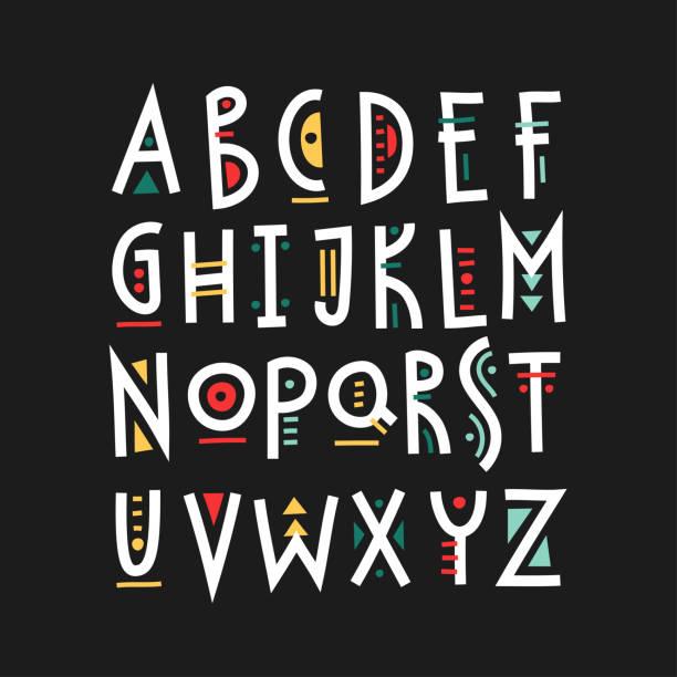 vektor trendige großbuchstaben-alphabet mit bunten geometrischen dekor. - avantgarde stock-grafiken, -clipart, -cartoons und -symbole