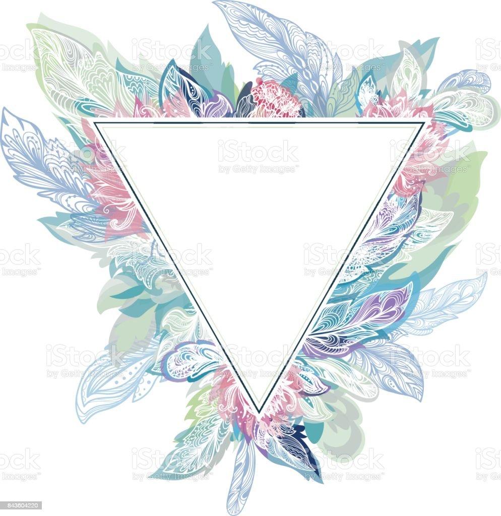 Vector Triangle Boho Frame vector art illustration