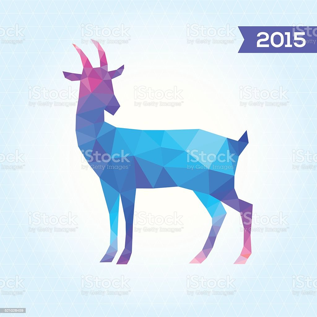 Vector Triangle Goat New Year Card With Goat Abstract Geometric