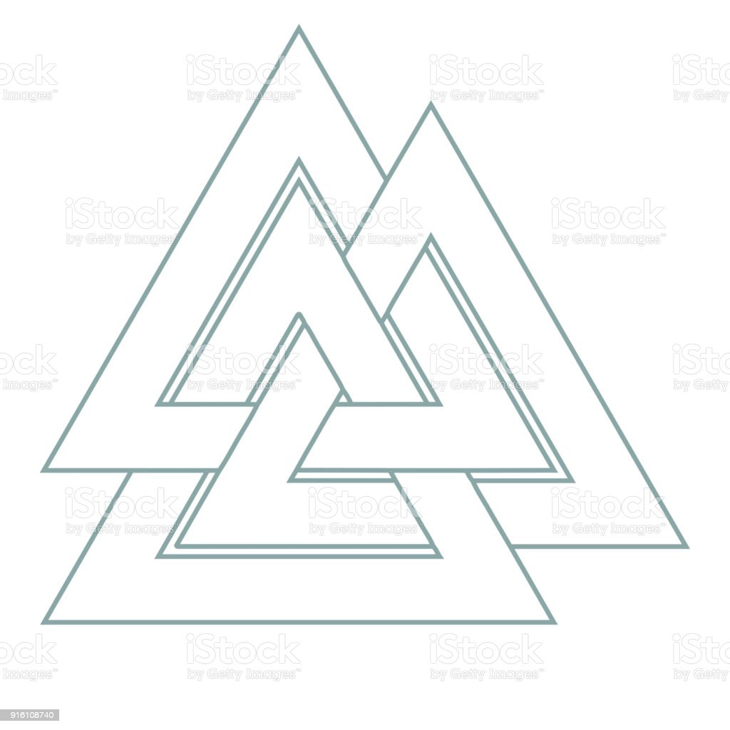 Vector triangle illustration: Valknut, the symbol of Germanic paganism, the sign of god Odin, runic knot or Hrungnir heart. Valknut rune as the symbol of the Germanic peoples. vector art illustration