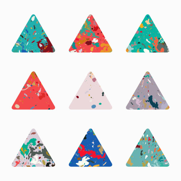 Vector triangle pattern icon collection Vector triangle pattern icon collection fabric swatch stock illustrations
