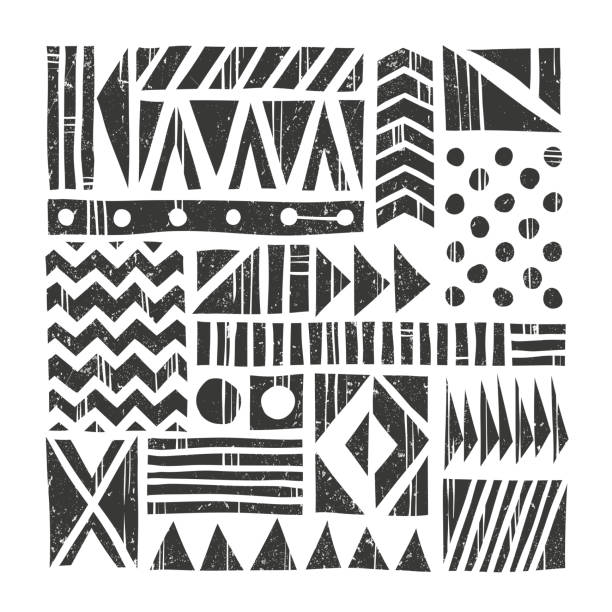 Vector tribal background. Abstract pattern with primitive shapes. Hand drawn Vector tribal background. Abstract pattern with primitive shapes. Hand drawn illustration. EPS 10. Contains no transparency and blending modes. linocut stock illustrations
