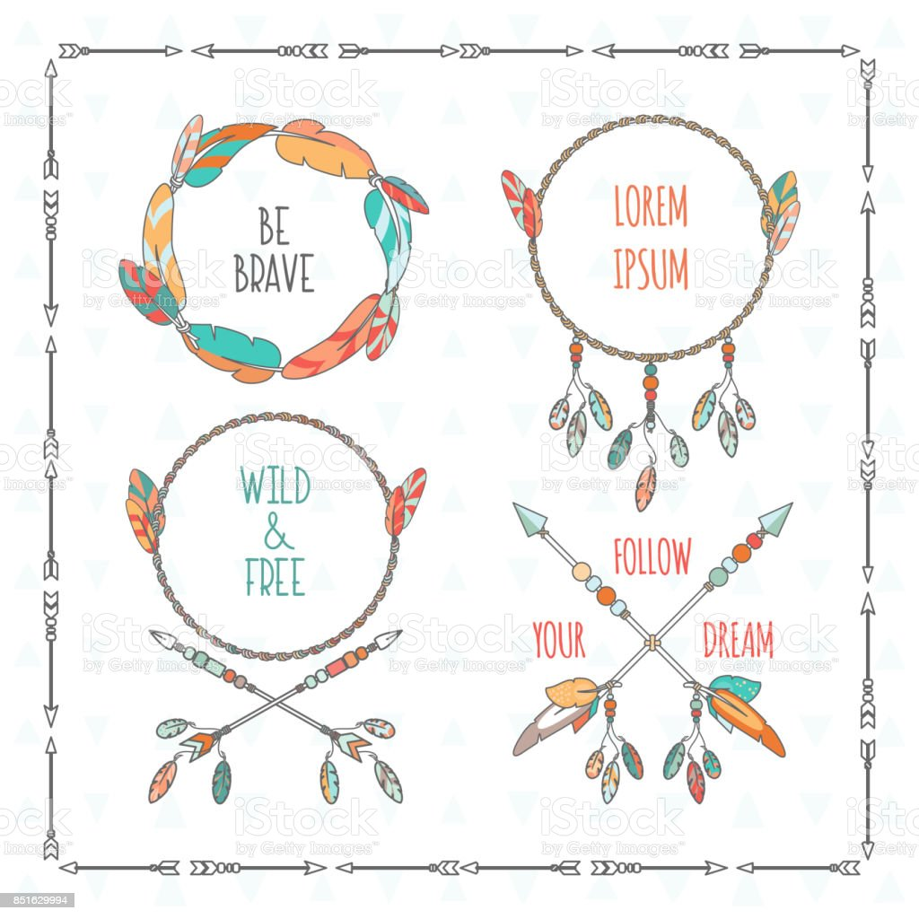 Vector Tribal Boho Style Frames With Inspirational Quotes Stock ...