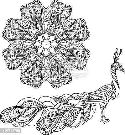 Vector Tribal Decorative Peacock And Mandala Stock Vector