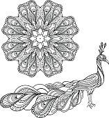 Vector Tribal Decorative Peacock And Mandala
