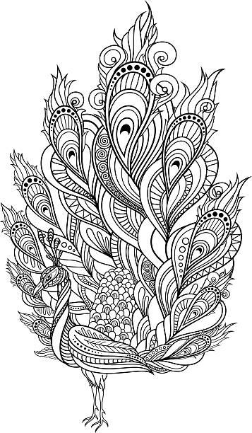 Vector Tribal Decorative Peacock Vector Tribal Decorative Peacock. Isolated Bird On Transparent Background. Style animal markings stock illustrations