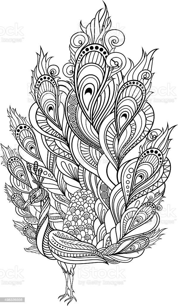 Vector Tribal Decorative Peacock vector art illustration