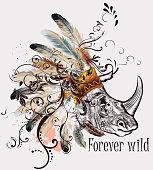Boho tribal design with rhinoceros and headdress. Forever wild