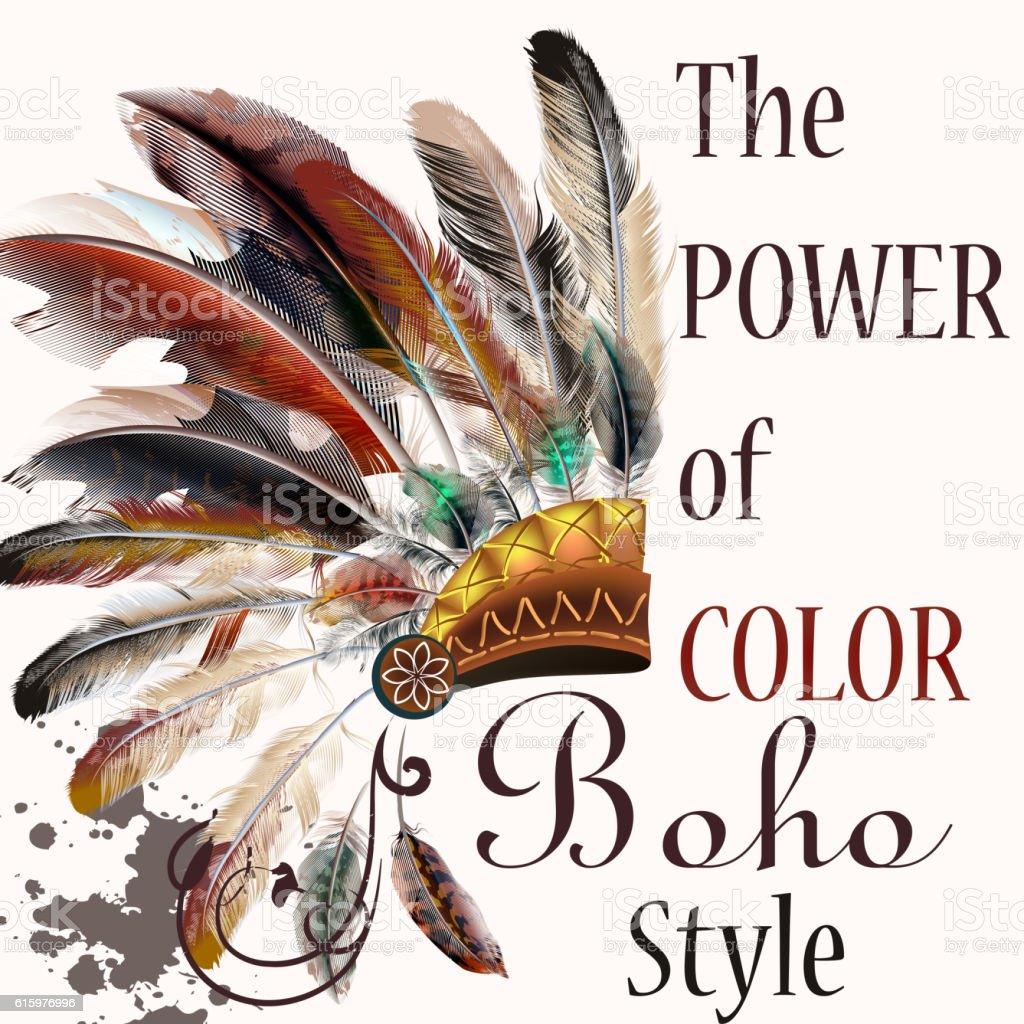Vector Tribal Design In Boho Style Headdress With Feathers Royalty Free Stock Art